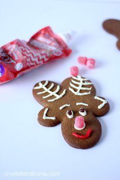 upside down gingerbread reindeer cookies