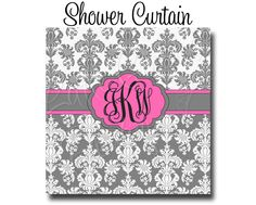 """Custom Personalized Monogram Shower Curtain - You Choose Size , 69"""" x 70"""" or 70"""" x 90"""" You Choose Colors -  Damask by HaveFaithBoutique on Etsy https://www.etsy.com/listing/170799123/custom-personalized-monogram-shower"""