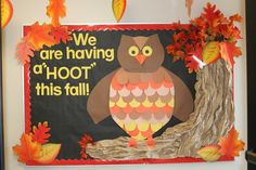 "This teacher's use of fall colors makes her ""We are having a HOOT this fall"" bulletin board display very eye-catching."