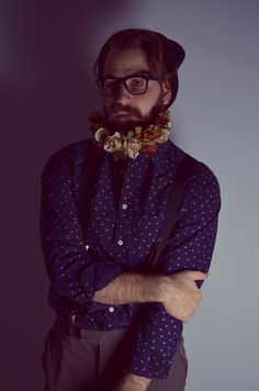 #flowers #flower #beard #moustache #vintage #retro #shirt #fashion #guy #cute