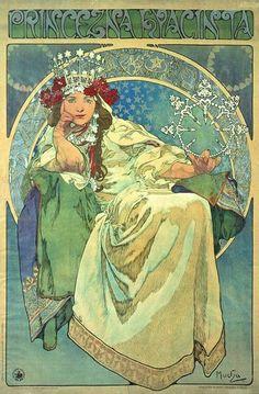 Alphonse Mucha, 1911, Princezna Hyacinta #art #painting