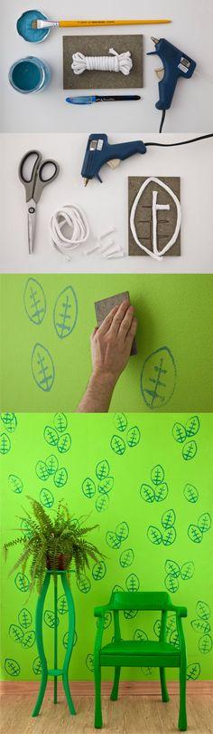 Patrones DIY para pintar tus paredes - casa.com.br - DIY Hand Stamped Wall