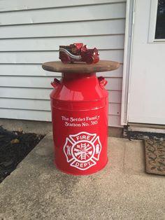 Firefighter Gift - Firefighter Decor - Firefighter Home Decor- Thin Red Line Firefighter Home Decor, Firefighter Family, Firefighter Wedding, Firefighters Wife, Firemen, Volunteer Firefighter, Milk Cans, Fire Dept, Firefighting