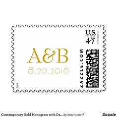Contemporary Gold Monogram with Date Custom Wedding Postage