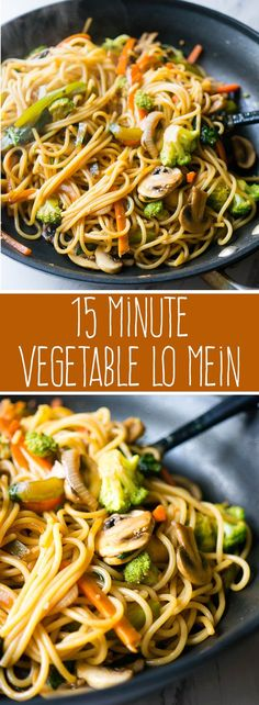15 Minute Vegetable Lo Mein Meatless full of your favorite veggies and delicious enough to be takeout youll love this super quick and easy weeknight dinner Veggie Recipes, Whole Food Recipes, Cooking Recipes, Healthy Recipes, Whole Foods, Cooking Tips, Easy Recipes, Canned Vegetable Recipes, Cooking Games