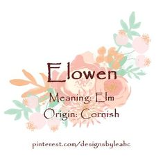 Baby Girl Name: Elowen. Meaning: Elm. Origin: Cornish.