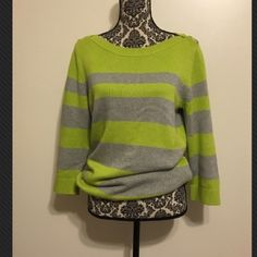 Striped neon thick sweater with ballet neckline Three-quarter length sleeve and supersoft Banana Republic Sweaters