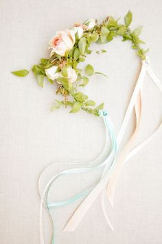 flower garland with ribbons