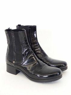 Details zu CAR SHOE Prada Winterstiefelette Leder Biker Boots Stiefel Damen Gr. DE 40