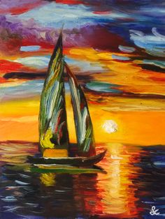 """A painting of mine. """"Sail Boat On The Sunset"""""""