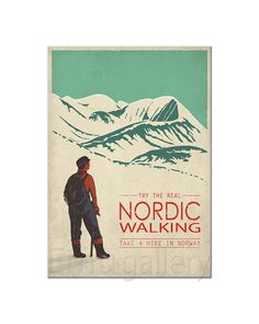 Retro travel poster minimalist print Nordic Walking by EmuDesigns Premiers pas. Nordic Walking, Poster A3, Poster Prints, Hiking Norway, Format A3, Online Magazine, Pub, Vintage Art Prints, Cross Country Skiing