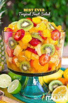Best Ever Tropical Fruit Salad is the only recipe you'll ever need. My entire picky family devoured this fruit salad. The dressing is truly magical. The combination of citrus juices with honey are phenomenal in the fruit salad dressing. The Slow Roasted Italian, Fruits Decoration, Tropical Fruit Salad, Colorful Fruit, Dressing For Fruit Salad, Fruit Salad Dressings, Fruit Salad Recipes, Jello Salads, Easy Fruit Salad