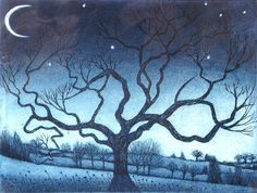 Crescent Moon - etching by Morna Rhys