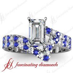 Blue Sapphire 1.35 Ct Emerald Cut Diamond Engagement Wedding Rings Pave Set VS1 on eBay!
