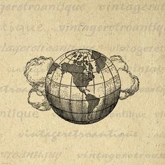 Digital Printable Earth Globe with Clouds Download Planet World Image Graphic Vintage Clip Art. Vintage printable digital graphic illustration for transfers, printing, tote bags, papercrafts, and other great uses. Great for etsy products. This digital graphic is large and high quality, size 8½ x 11 inches. Transparent background version included with all images.
