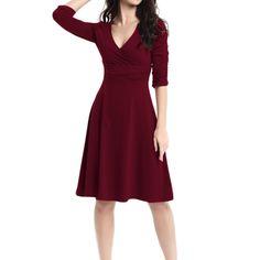 Sue&Joe Women's 3/4 Sleeve Dress Ruched Waist Classy V-Neck Casual Cocktail Dress, Burgundy, TagsizeXXL=USsize12-14