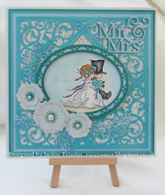 Tinyrose's Craft Room: LOTV Wedding Card made with a stamped LOTV image and dies by Spellbinders, Creative Expressions and Crafter's Companion