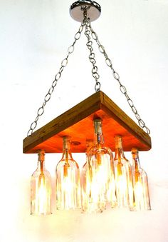 "RUSTIC CHANDELIER -- ""Adala"" -- Reclaimed Barn Wood and Wine Bottle Chandelier -- 100% RECYCLED"