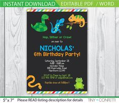 reptile invitation, reptile birthday party, reptile birthday invitations, snake, chameleon, frog, lizard, chalkboard, instant download by TinyConfetti