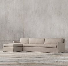 RH's Preconfigured Petite Belgian Slope Arm Slipcovered Left-Arm Chaise Sectional  Army Duck $2962 (member price)