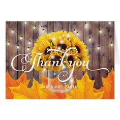 Autumn Sunflower Jar Rustic Wedding Thank You Card - wedding shower gifts party ideas diy cyo personalize