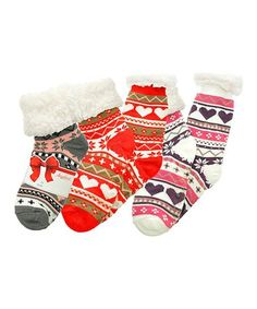 24c7a5e96 Angelina Red   Gray Heart Fleece-Lined Three-Pair Slipper Sock Set - Women