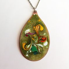 beautiful! Enamel Copper Pendant Lime now featured on Fab.