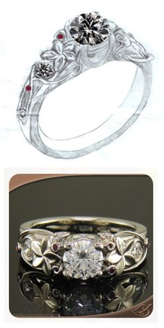 Custom 14k white gold Diamond engagement ring with rubies and accent diamonds. A favorite repeat at GLJW with flowers and hand done filigree.