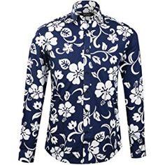APTRO Men's Fashion Shirt Flower Print Long Sleeve Floral Shirt