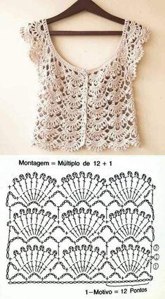 20 Lindos Modelos De Blusa De Crochê ⋆ De Frente Para O Mar Kleidunghäkeln - Responsive - Diy Crafts - DIY & Crafts Blouse Au Crochet, Débardeurs Au Crochet, Gilet Crochet, Crochet Vest Pattern, Mode Crochet, Crochet Shirt, Crochet Jacket, Crochet Diagram, Crochet Stitches Patterns