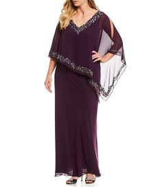 c0db597d9a7 Jkara Plus Size Beaded Popover Gown