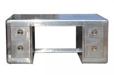 Casa Padrino Art Deco Flieger Schreibtisch   Aluminium Tisch