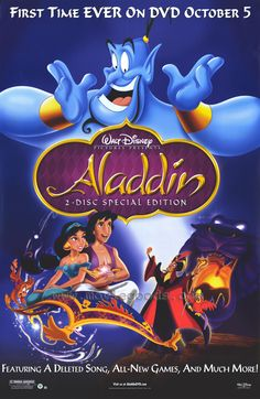 Aladdin is an American animated musical fantasy film. The movie was part of the Disney film era known as the Disney Renaissance. Aladdin (Scott Weigner/Brad Kane) is a street urchin who gets hold of a magical lamp with a genie who grants him 3 wishes. Disney Films, Heros Disney, Classic Disney Movies, Disney Classics, Disney Disney, Disney Cartoons, Childhood Movies, Kid Movies, Family Movies