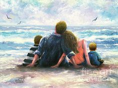 Beach family two boys painting by vickie wade Family Beach Pictures, Beach Photos, Father And Girl, Family Hug, Beach Boy, Mother Art, Family Painting, Family Illustration, Painting Inspiration