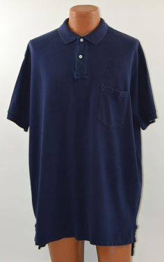 Ralph Lauren Mens Large 100% Cotton Long Sleeve Navy Blue Polo Shirt Used #RalphLauren #PoloRugby