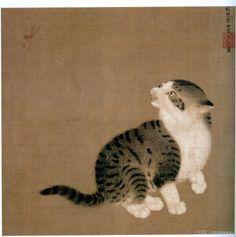 李迪 蜻蜓花狸 大阪市立美术馆、流落到日美的中国宋代绘画图片3 Asian Cat, World Cat, Street Mural, Japanese Cat, Historical Art, China Painting, Classical Art, Art Plastique, Chinese Art