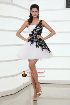 Black And White One-Shoulder Backless Lace Mini Homecoming Cocktail Dresses