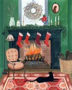 8 Agreeable Tips: Corner Fireplace Tile fireplace design modern. Christmas Fireplace, Christmas Art, Vintage Christmas, Christmas Decorations, Xmas, Illustration Noel, Christmas Illustration, Illustrations, Concrete Fireplace
