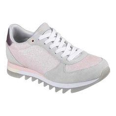 Women's Skechers Venus Shiny Corners Sneaker Light Gray/