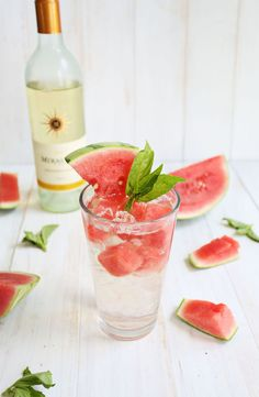 Mirassou Sauvignon Blanc paired with club soda, watermelon and basil. Here's what you need: 4-5 oz. chilled Mirassou Sauvignon Blanc 2-3 oz. chilled club soda (or tonic if you want a little more sweetness) 3-4 frozen melon cubes 1 big sprig of fresh basil