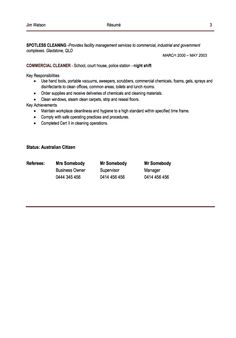 this example office cleaner resume example we will give you a refence start on building resumeyou can optimized this example resume on creating resume for - Cleaner Resume Example