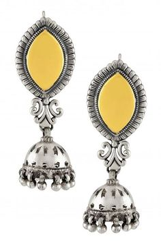 Silver Dual Rone Marquise Textured Cutout Jhumka Earrings