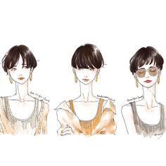 ショートちゃん前髪色々✂︎☆ #ショートヘア#前髪#ワンレンショート#マッシュルームカット#ぱっつん#リブタンク#ゆるっとカーデ#シャツ#ファッションイラスト#イラスト#fashionillustration#illust#artwork#adobesketch Shot Hair Styles, Long Hair Styles, Love Hair, My Hair, Pretty Hairstyles, Bob Hairstyles, Hair Arrange, Long Pixie, Queen Hair