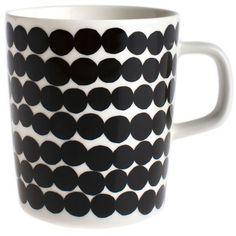 Marimekko Siirtolapuutarha White/Black Mug found on Polyvore