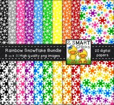 Add a cool factor to your products with our rainbow snowflake background paper bundle! 20 colourful, as well as, vibrant PNG file backgrounds are included in this set! Once purchased, digital papers can be used for personal or commercial purposes. Kindly remember to include a link back to our TPT store: http://www.teacherspayteachers.com/Store/2-Smart-Chicks Happy creating!