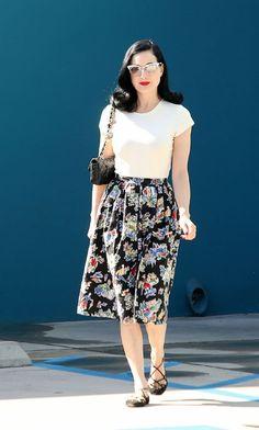 White t-shirt + long floral skirt + black criss-cross strappy flats!