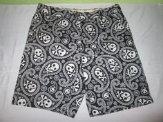 Men's LOUDMOUTH Golf Shorts Sz 34  Black Paisley Skull Shiver Me Timbers #LoudmouthGolf #CasualShorts