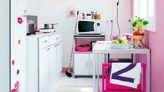 pink wall paint for white small kitchen design