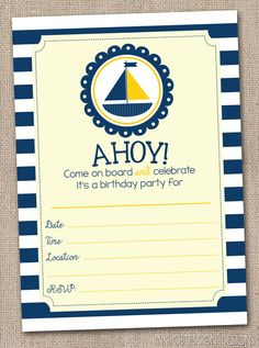 Nautical Yellow and Navy Blue Sailboat Fill In Birthday Party Invitations Printable Kids Birthday Party Invite INSTANT DOWNLOAD PDF