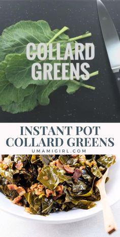 Instant Pot collard greens are a comfort food dream come true. They're soft and silky, meaty and full-flavored like the long-cooking southern-style recipes that inspired them, but they're ready in about 45 minutes. Click through for the full recipe! #instantpotcollardgreens #instantpotrecipes #southerncollardgreens